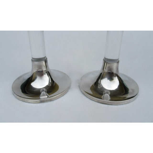 Vintage Mid-Century Karl Springer-Style, Lord & Taylor Silver Plate & Lucite Candle Holders -A Pair For Sale - Image 10 of 13