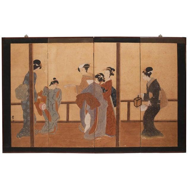 Late Meiji Era Ukiyo-E Style Large Japanese Screen For Sale - Image 10 of 11