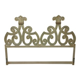 Vintage French Regency Cast Aluminum King Size Bed Headboard
