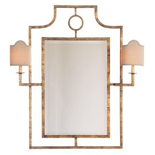 Doheny Gold Mirror With Sconces For Sale