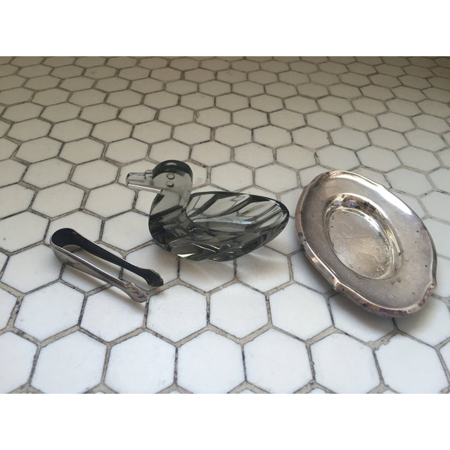 Silver Vintage Duck Crystal Sugar Server & Tongs For Sale - Image 8 of 9