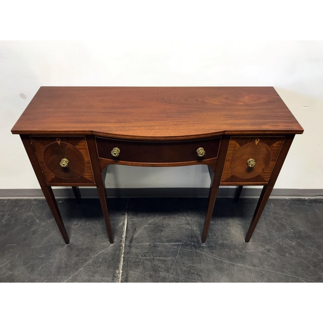Late 19th Century Inlaid Mahogany Walnut Satinwood Bow Front Sideboard / Console - Image 4 of 11