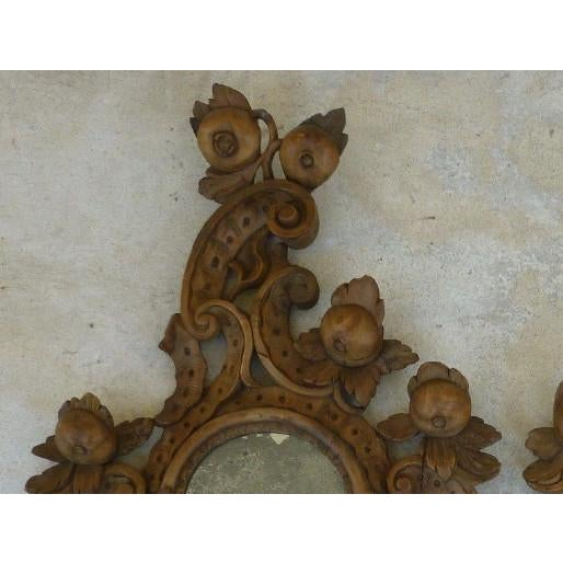 Rococo Fine 19th C Italian Venetian Rococo Wood Mirrors With Fruits - a Pair For Sale - Image 3 of 10