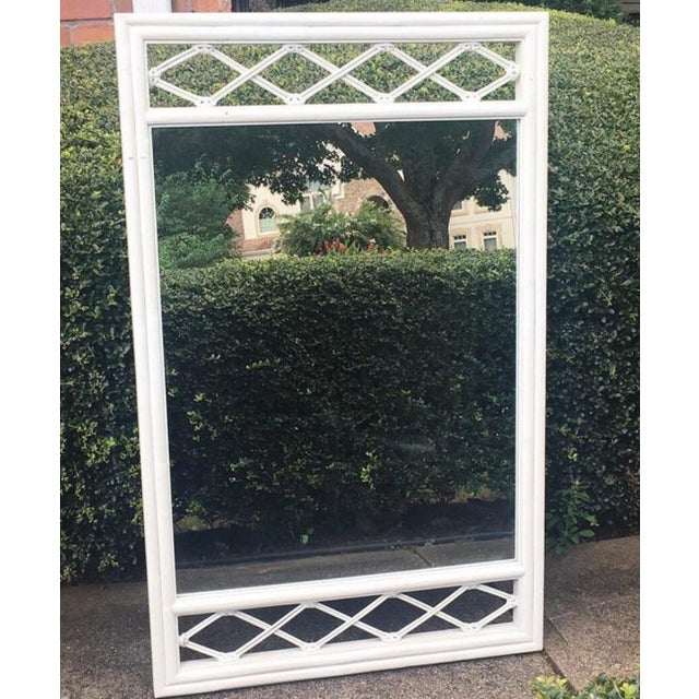Vintage Ficks Reed rectangular mirror. White painted finish. Excellent overall vintage condition. Minor imperfections to...