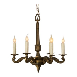 Vintage French Louis XIV Style Bronze Doré Six Arm Chandelier circa 1940 For Sale