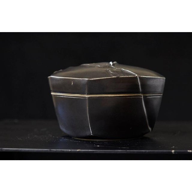Black Chris Staley Square Black Lidded Jar, Signed For Sale - Image 8 of 11