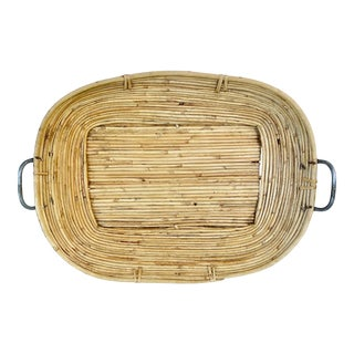 Vintage Pencil Reed Bamboo Tray For Sale