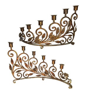 19th Century 6 Stick Half Circle Wrought Iron Gilded Candelabras - a Pair For Sale