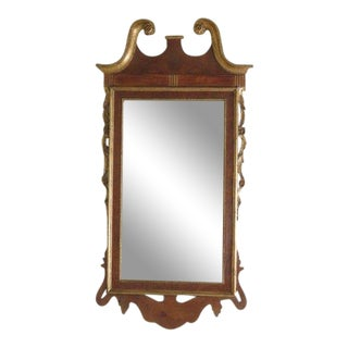 Labarge Georgian Style Walnut and Gold Beveled Glass Mirror For Sale