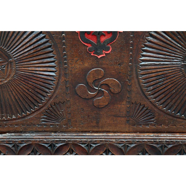 Iron 18th Century Carved Spanish Chest For Sale - Image 7 of 10