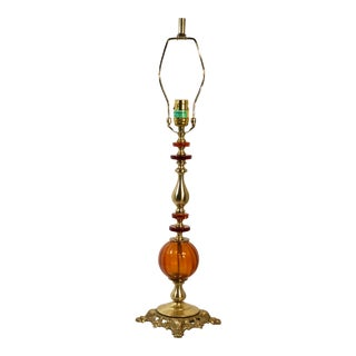 Brass and Blown Amber Glass Table Light Lion Footed Lamp For Sale