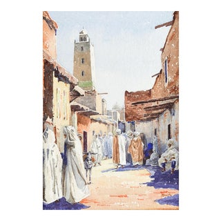 Market Scene Watercolor Painting Circa 1910 For Sale