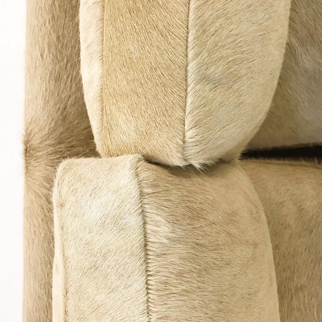 Animal Skin Forsyth One of a Kind Milo Baughman for Thayer Coggin Loveseat Sofa in Palomino Brazilian Cowhide For Sale - Image 7 of 11