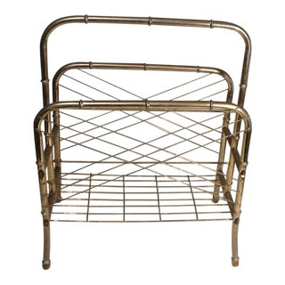 Mid-Century Brass Faux Bamboo Magazine Rack For Sale