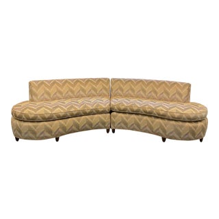Vintage Mid-Century Kidney Shaped Curved Sofa - 2 Pieces For Sale