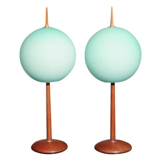 1950s Italian Wooden Base & Green Glass Globe Table Lamps - a Pair For Sale