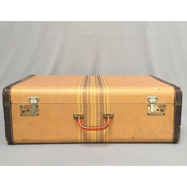 Large Vintage Herringbone Stripe Suitcase With Bakelite Handle For Sale - Image 11 of 11