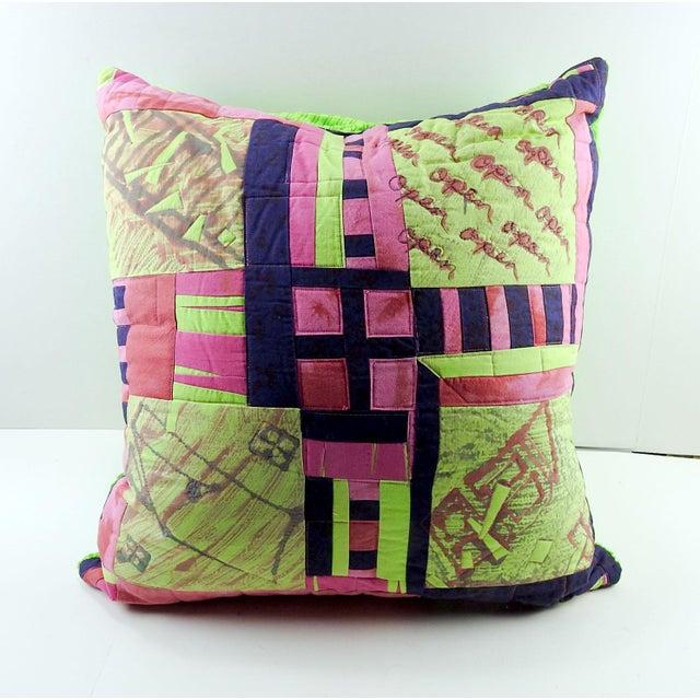 Textile Vintage Textile Quilt Pillow For Sale - Image 7 of 7