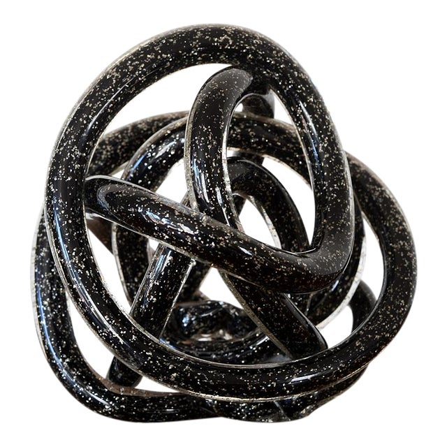 Vintage Black Murano Abstract Twisting Blown Glass Tube Sculpture For Sale