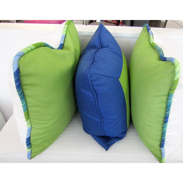 Transitional Custom Made Lime and Periwinkle Pillows - Set of 3 For Sale - Image 3 of 7