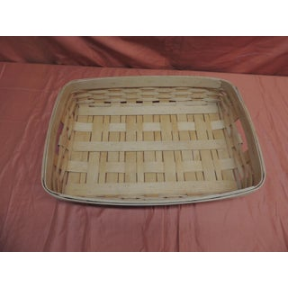 Vintage Flat-Woven Serving Fruit Basket/ Tray Preview