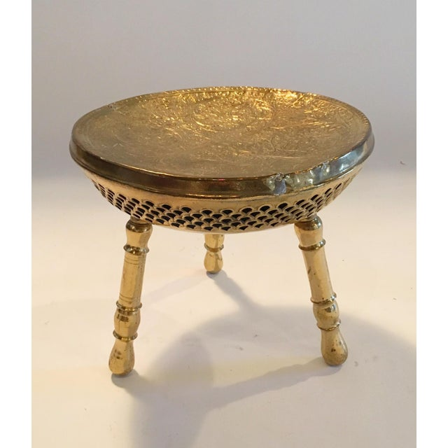 Vintage Brass Moroccan Stool - Image 3 of 5