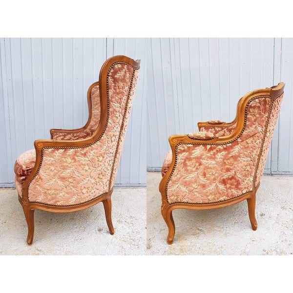 Pink Three Piece French Antique Louis XV Style Carved Parlor Suite Sofa Canape Loveseat For Sale - Image 11 of 13