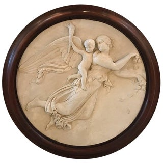 19th Century Italian Plaster Relief Plaque in Early Frame