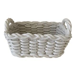 1970s White Ceramic Basket For Sale