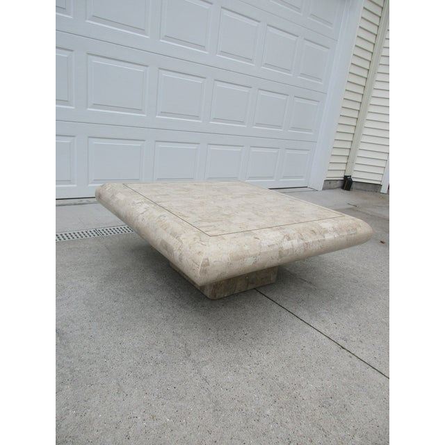 1990s Tessellated Stone Coffee Table for Mission Furniture Los Angeles For Sale - Image 5 of 11