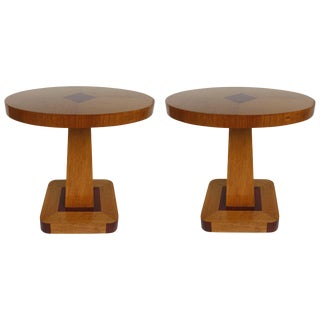 1940s Art Deco Mahogany and Oak Veneered Oval Side Tables, Pair For Sale