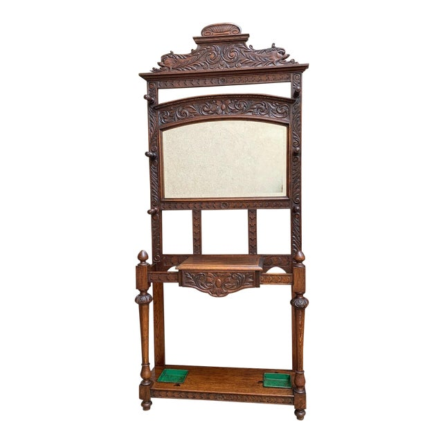 Antique English Renaissance Carved Oak Hall Tree Stand Dome Mirror Coat Hat Rack For Sale