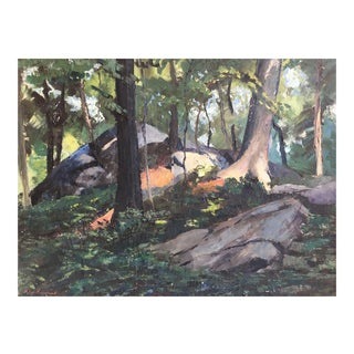 19th Century New England Forest Landscape Oil Painting by Peter Hayward