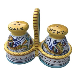 Fima Deruta Italy Salt & Pepper Shakers in a Caddy - Set of 3 For Sale
