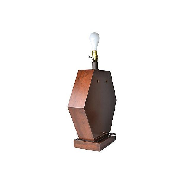 Glass Hexagonal Wood Table Lamp For Sale - Image 7 of 8