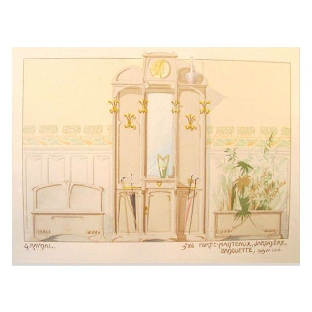 Vintage French Decorator Sheet Interior/Coatrack - Image 1 of 3