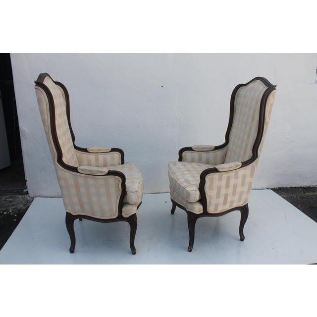 French Provincial Carved Wood Arm Chairs - A Pair - Image 6 of 11