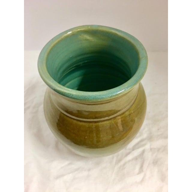 Ceramic Vintage Ceramic Vase With Aqua Interior For Sale - Image 7 of 10