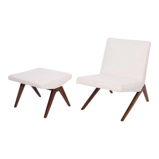 Studio Crafted Lounge Chair and Ottoman For Sale
