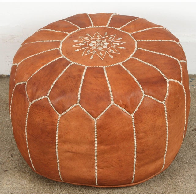 Leather Moroccan Handcrafted Leather Camel Ottoman For Sale - Image 7 of 7