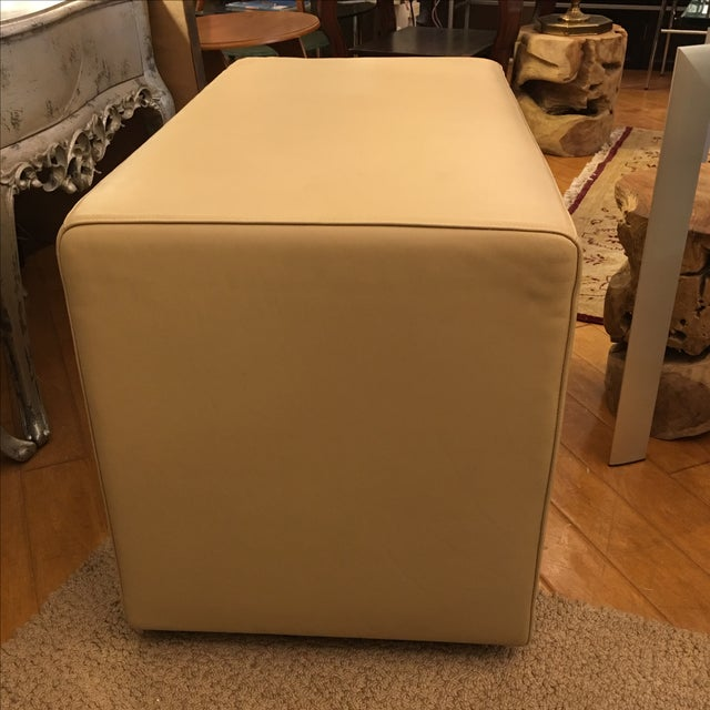 Living Divani Leather Cuboid Ottoman For Sale - Image 11 of 11