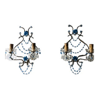 French Lavender Opaline Beads Beaded Sconces, Circa 1920 For Sale