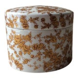 Image of Art Nouveau Limoges Porcelain Round Covered Box For Sale