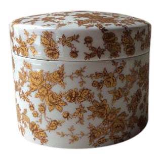 Art Nouveau Limoges Porcelain Round Covered Box For Sale