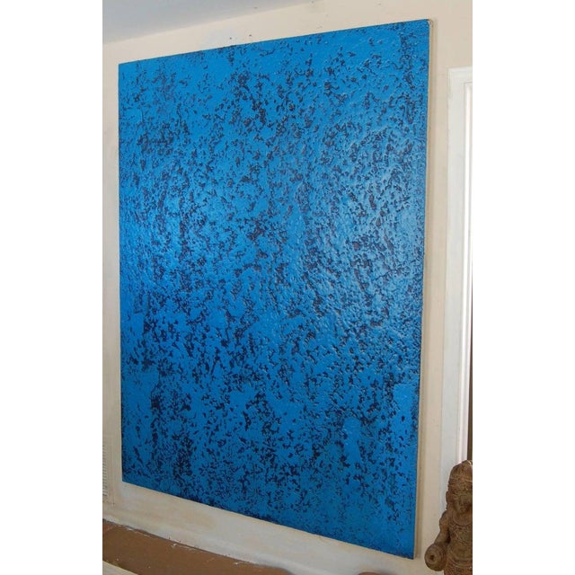 Abstract Contemporary Blue Navy Abstract Painting by Artist John Frates For Sale - Image 3 of 6