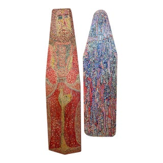 Pair of Outsider Art Painted Ironing Boards by Michael Heinrich For Sale