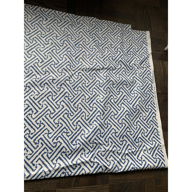 1.9 Yards Quadrille Java Grande Blue Laminated Fabric For Sale In New York - Image 6 of 8
