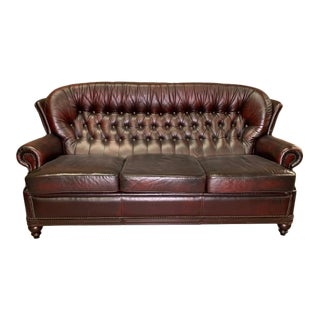 Vintage Mid-Century English Leather Chesterfield Monks Back 3 Seat Sofa, Oxblood For Sale