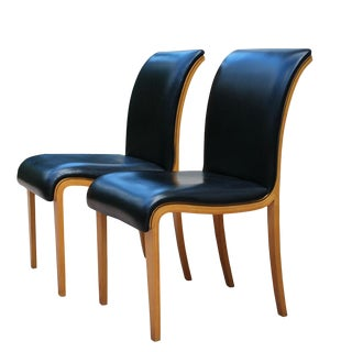 Black Leather Birch Molded Plywood Chairs- A Pair For Sale
