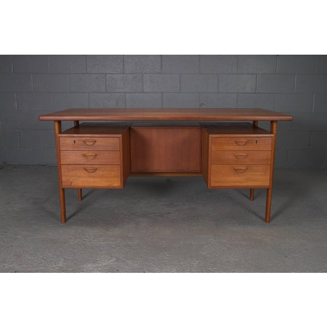 Danish Teak Desk With Floating Top by Kai Kristensen For Sale - Image 9 of 10